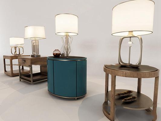 中式实木床头柜台灯组合3D模型【ID:97223560】