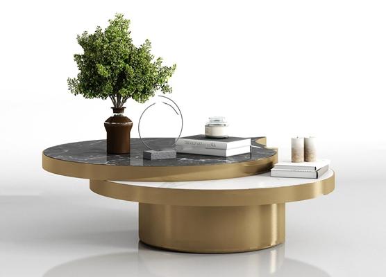 现代金属大理石茶几饰品组合3D模型【ID:97224768】
