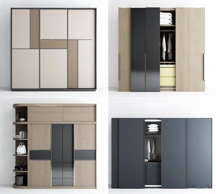 現代實木衣柜組合3D模型【ID:97224799】