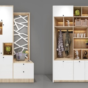 现代多功能鞋柜摆件组合3D模型【ID:97224839】