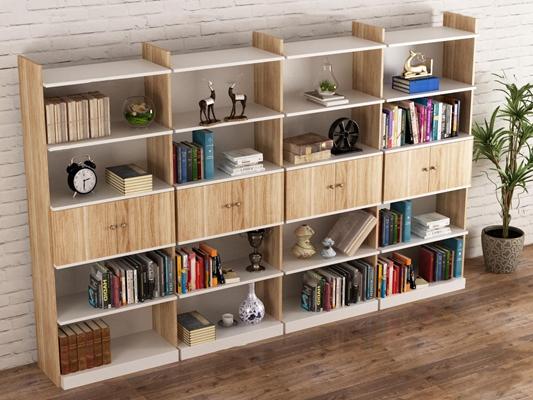 现代实木书架书籍摆件组合3D模型【ID:97225355】
