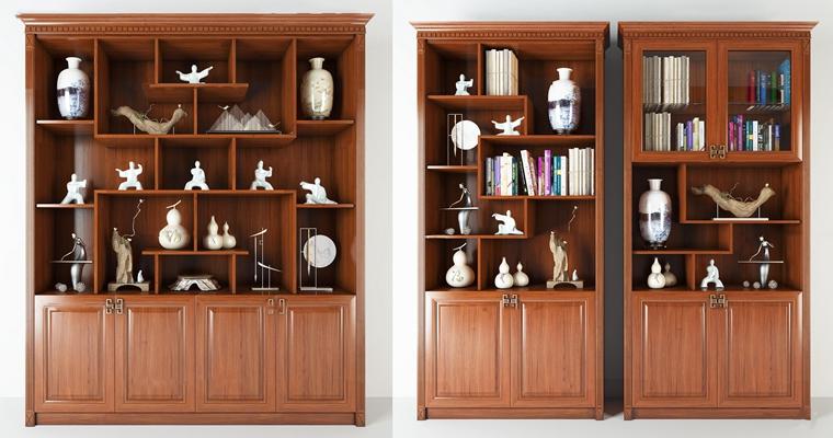 新中式实木装饰柜摆件组合3D模型【ID:97225523】