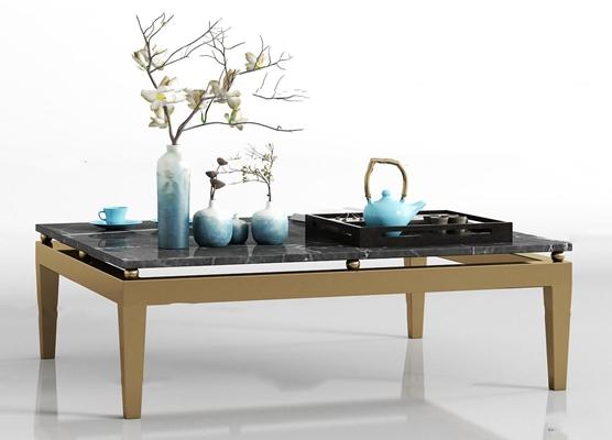 现代金属大理石茶几花艺茶具饰品组合3D模型【ID:97226467】