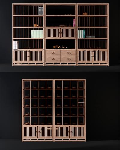 新中式实木博古架装饰柜组合3D模型【ID:97227224】