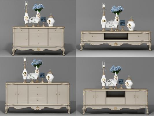 欧式古典电视柜边柜摆件组合3D模型【ID:919681051】