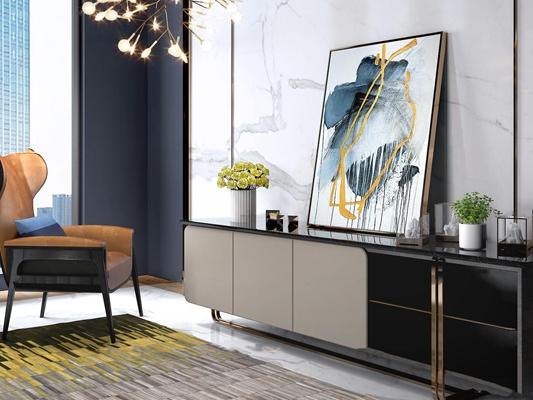 现代电视柜休闲椅摆件组合3D模型【ID:97227503】