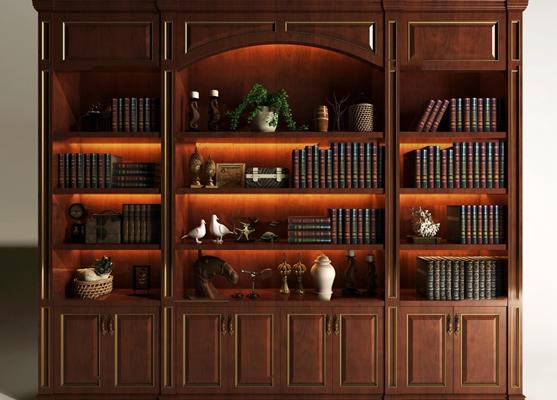 美式实木书柜书籍摆件组合3D模型【ID:97228951】