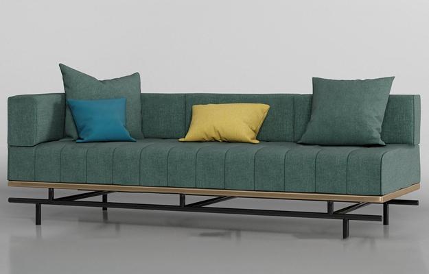 现代布艺多人沙发3D模型【ID:97228999】