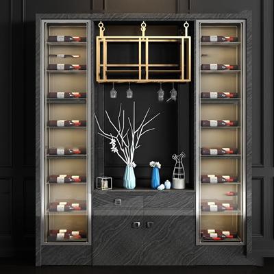 现代实木酒柜酒瓶酒具组合3D模型