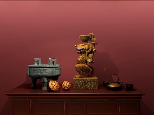 中式青铜圆鼎金属雕塑摆件组合3D模型【ID:97229512】