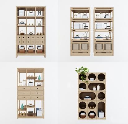 新中式书柜装饰柜摆设品组合3D模型【ID:97229658】