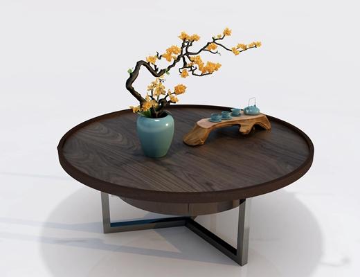 新中式实木茶几摆件组合3D模型【ID:97230065】