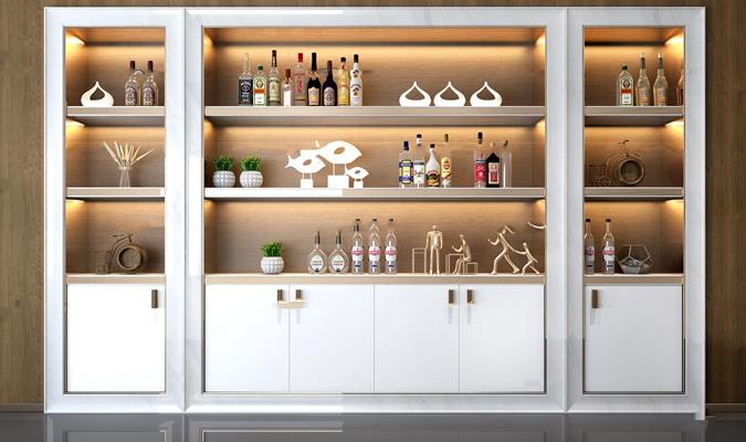 现代酒柜摆件组合3D模型【ID:97230205】