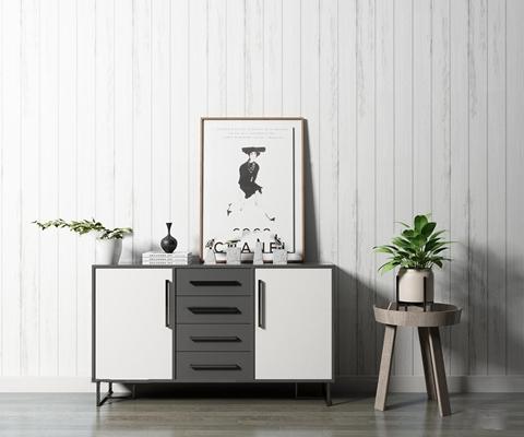 现代黑色玄关柜装饰画盆栽摆件组合3D模型【ID:97230613】