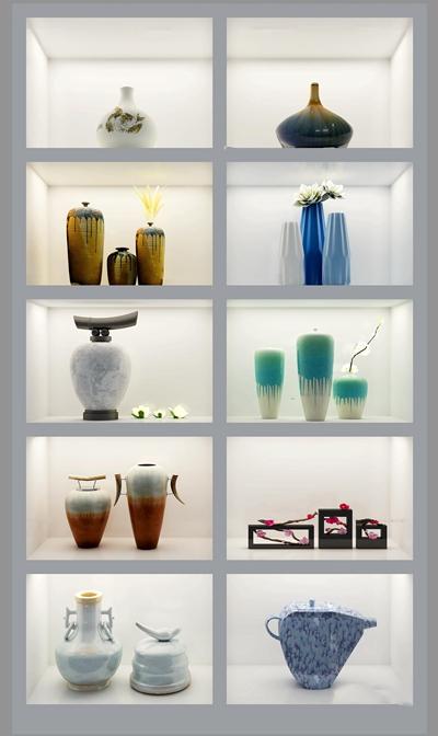 新中式置物架陶瓷摆件组合3D模型【ID:919681165】