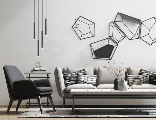 现代多人沙发茶几单椅摆件组合3D模型【ID:97232293】