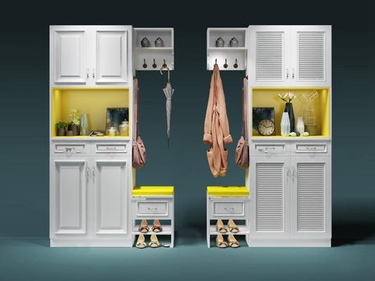 北欧白色鞋柜女鞋摆件组合3D模型【ID:97232337】