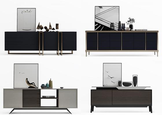 现代电视柜边柜摆件组合3D模型【ID:97232505】