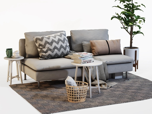 现代布艺沙发圆几摆件组合3D模型【ID:97233577】