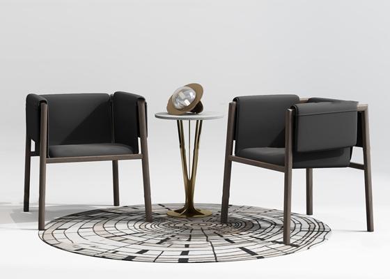 新中式沙发角几摆件组合3D模型【ID:919680678】