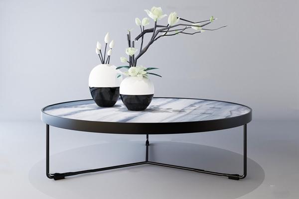 新中式铁艺圆形茶几陶瓷摆件3D模型【ID:97233762】