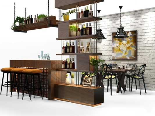 工业风实木酒柜餐桌椅吧台摆件3D模型【ID:97234105】