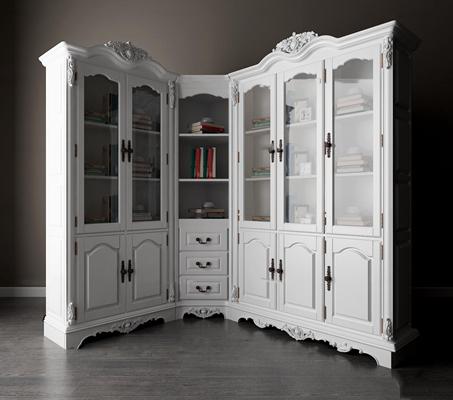 欧式转角组合书柜摆件3D模型【ID:97234959】