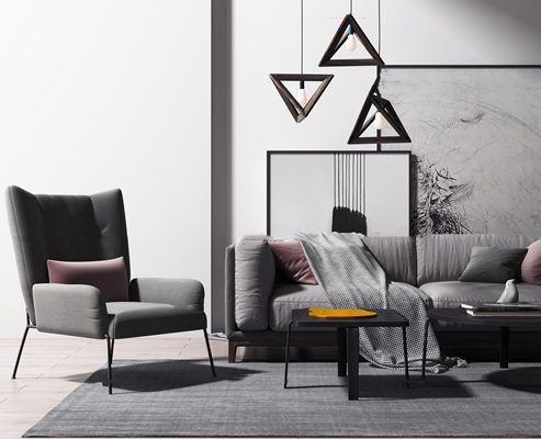 北欧沙发沙发椅茶几吊灯摆件组合3D模型【ID:97235572】