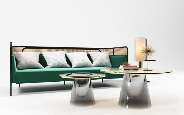 现代布艺沙发茶几摆件组合3D模型【ID:97236098】