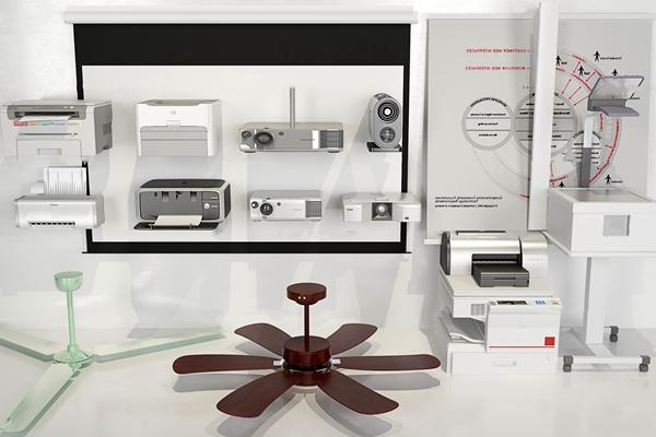 現代辦公設備吊扇幕布打印機組合3D模型【ID:97236566】