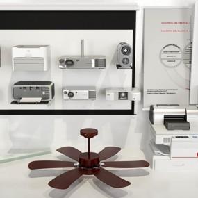 现代办公设备吊扇幕布打印机组合3D模型【ID:97236566】