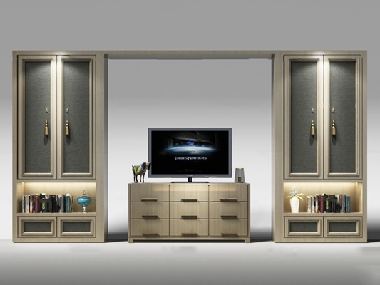 现代电视柜装饰柜摆件组合3D模型【ID:97237426】