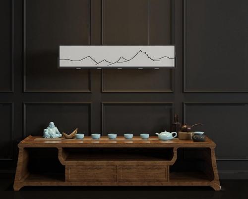 新中式茶几茶具吊灯组合3D模型【ID:919681666】