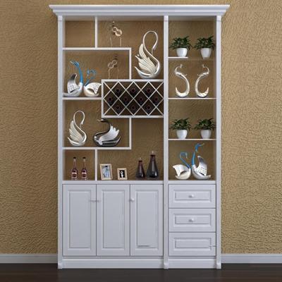 现代实木酒柜摆件组合3D模型【ID:97237806】