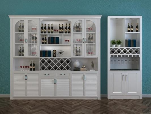 欧式实木酒柜酒水组合3D模型【ID:97237808】