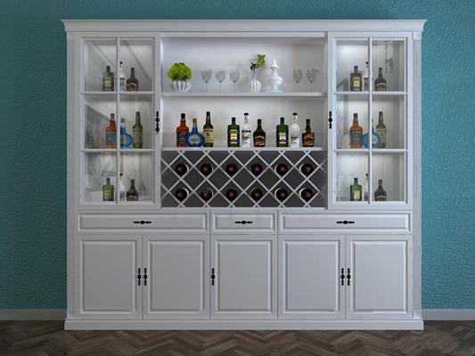 现代实木酒柜摆件组合3D模型【ID:97237903】