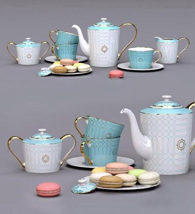 欧式餐具马卡龙组合3D模型【ID:97238737】