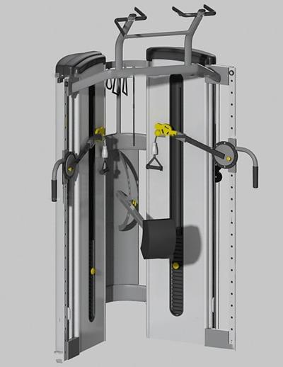 现代综合功能训练器健身器材3D模型【ID:97239199】