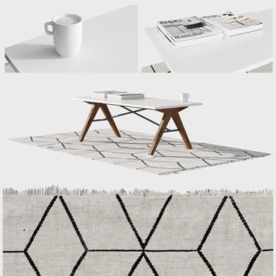 现代茶几地毯摆件组合3D模型【ID:97239867】