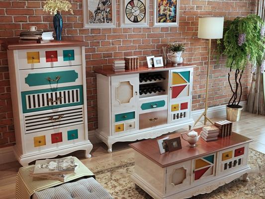 美式彩绘餐边柜斗柜茶几摆件组合3D模型【ID:919681179】