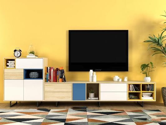 现代实木电视柜边柜书籍摆件组合3D模型【ID:97243402】