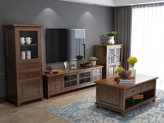 美式实木电视柜茶几边柜组合3D模型【ID:97244306】