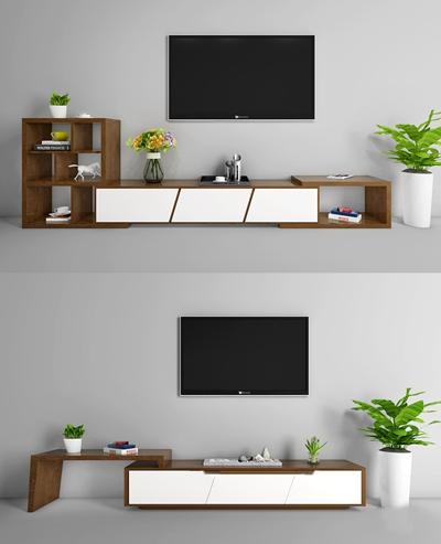现代电视柜盆栽组合3D模型【ID:97244600】