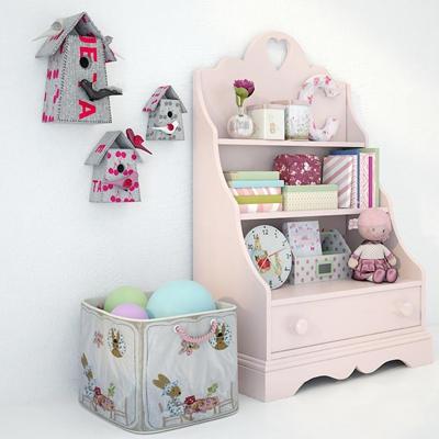 现代儿童柜收纳筐组合3D模型【ID:97244722】