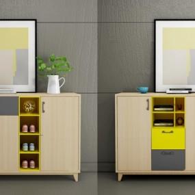 北欧实木鞋柜组合3D模型【ID:97244933】