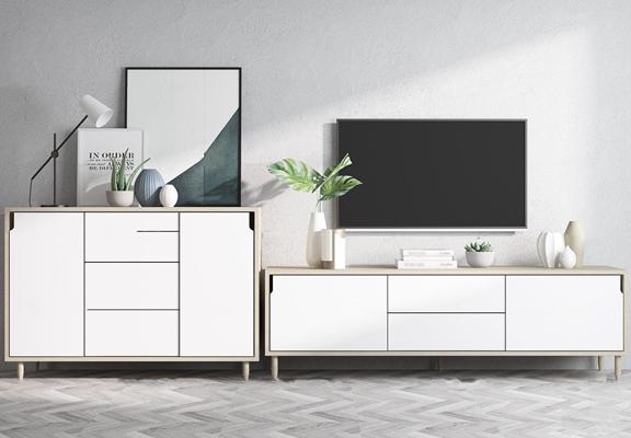 北欧实木电视柜边柜摆件组合3D模型【ID:97248001】
