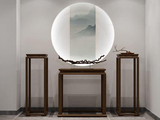 新中式实木端景台海棠花架摆件组合3D模型【ID:97248719】