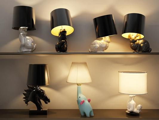 现代动物造型儿童台灯组合3D模型【ID:97249084】