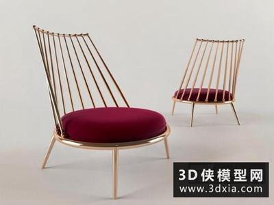 金屬現代休閑椅國外3D模型【ID:729747839】