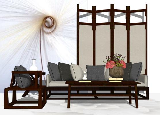 新中式沙發茶幾組合SU模型【ID:746379661】